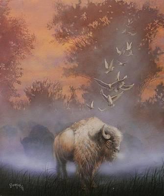 White Buffalo Spirit Print by Tom Shropshire