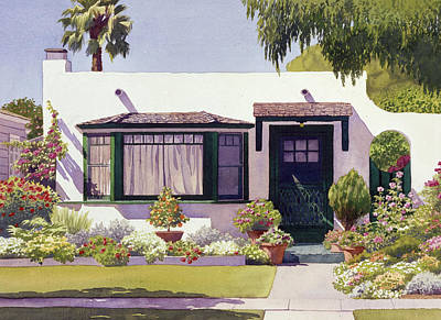 House Portrait Painting - White Bungalow In Coronado by Mary Helmreich