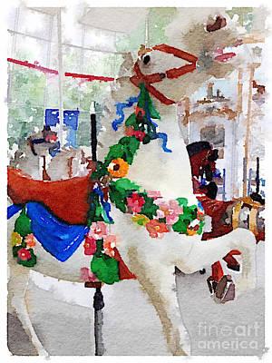 White Carousel Horse Print by Janet Dodrill