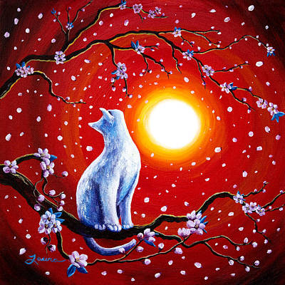 Cherry Blossoms Painting - White Cat In Bright Sunset by Laura Iverson