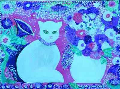 Choker Painting - White Cat With Flowers by Anne-Elizabeth Whiteway