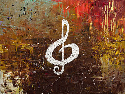 Piano Painting - White Clef by Carmen Guedez