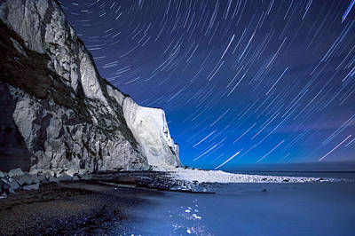 St Margaret Photograph - White Cliffs Of Dover On A Starry Night by Ian Hufton