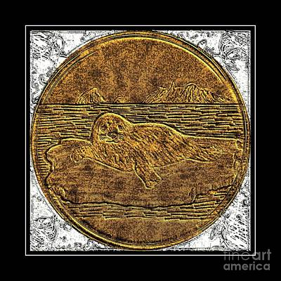 Brass Etching Photograph - White Coat Seal - Brass Etching by Barbara Griffin