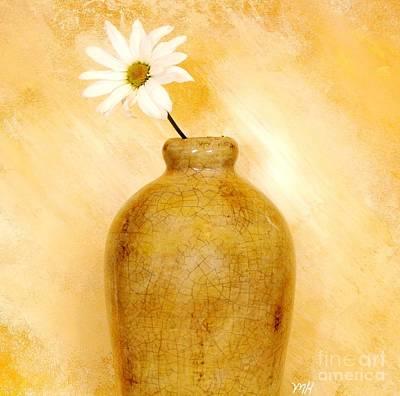 Wrap Digital Art - White Daisy In Gold Pottery by Marsha Heiken