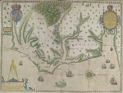 Theodor De Bry Photograph - White-de Bry Map Of Virginia by British Library
