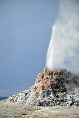 White Dome Geyser Eruption In Yellowstone National Park Print by Bruce Gourley