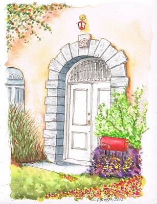 Mail Box Painting - White Door In Santa Monica - California by Carlos G Groppa