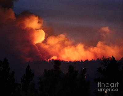 Print featuring the photograph White Draw Fire First Night by Bill Gabbert