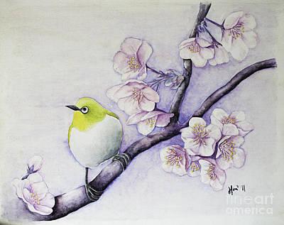Sakura Painting - White-eye Among The Sakuras by Hui Hui Lau