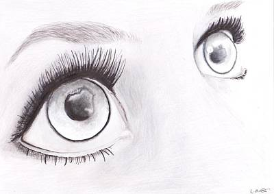 Reflective Drawing - White Eyes by Loren Hill