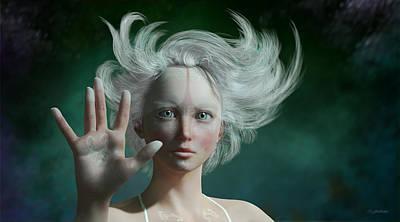 Goddess Mythology Digital Art - White Faun by Britta Glodde