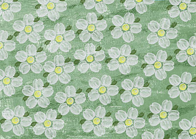 White Flowers  Print by Aged Pixel