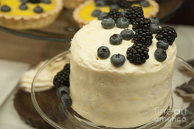 Blueberry Photograph - White Frosted Cake With Berries by Juli Scalzi