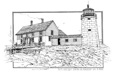 White Head Light Station Penobscot Maine Print by Ira Shander