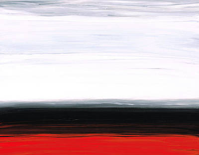 Shore Painting - White Horizon - Abstract Red And Black Landscape Art by Sharon Cummings