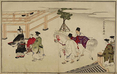 White Horse At Shinto Shrine Print by British Library