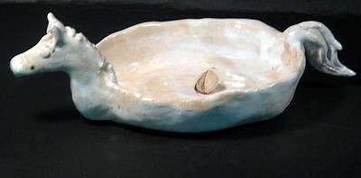 Customcrittersbydeb Sculpture - White Horse Dish by Debbie Limoli