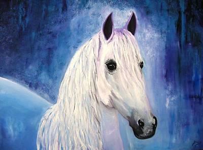 White Horse Print by Doris Cohen