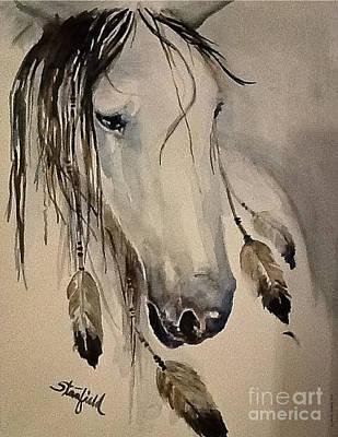 White Horse Listening Print by Johnnie Stanfield