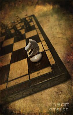 White Horse On The Chess Board Print by Jaroslaw Blaminsky