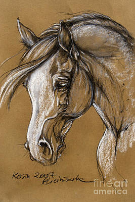 White Horse Soft Pastel Sketch Print by Angel  Tarantella