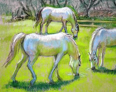 White Horses Grazing Print by Sue Halstenberg