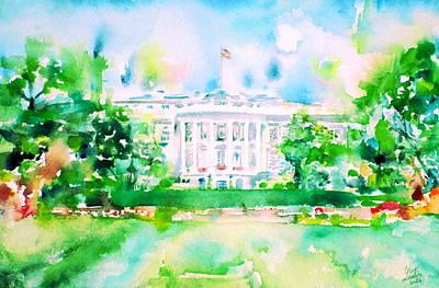 Washington D.c Painting - White House - Watercolor Portrait by Fabrizio Cassetta