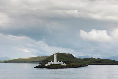 White Lighthouse Along The Coast Print by John Short