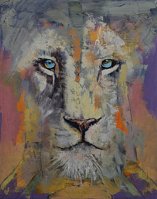 White Lion Print by Michael Creese