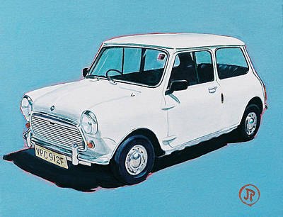 British Classic Cars Painting - White Mini by Jorge Pinto