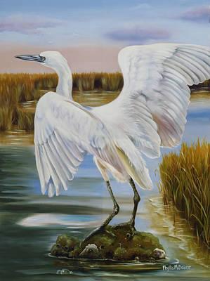 Morph Painting - White Morph Reddish Egret At Creole Gap by Phyllis Beiser