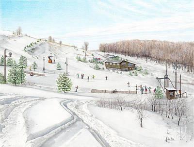 Pennsylvania Drawing - White Mountain Resort by Albert Puskaric