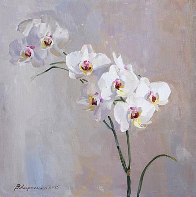 White Orchid Print by Victoria Kharchenko