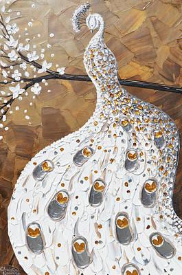 Palette Knife Painting - White Peacock by Christine Krainock
