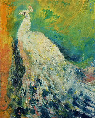 White Peacock Print by Michael Creese