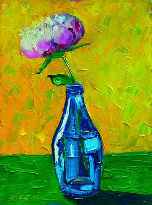 Vivid Colour Painting - White Peony Into A Blue Bottle by Ana Maria Edulescu
