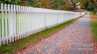 Deerfield Photograph - White Picket Fence Lined Sidewalk by Edward Fielding
