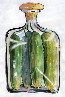 White Pickle Jar Art Original by Blenda Studio