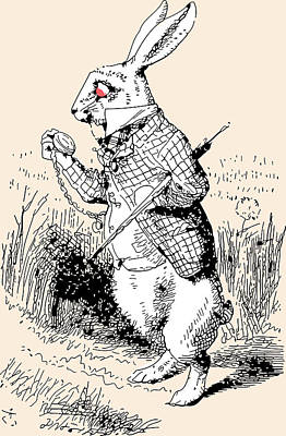 Rabbit Drawing - White Rabbit Alice In Wonderland by John Tenniel
