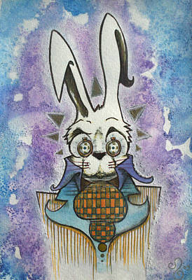 Rabbit Drawing - White Rabbit by Ellen Henneke