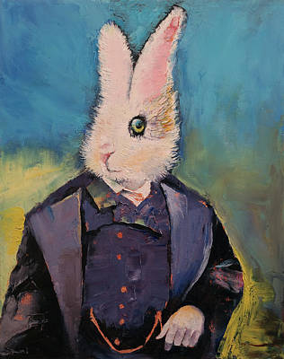 Arts In Wonderland Painting - White Rabbit by Michael Creese