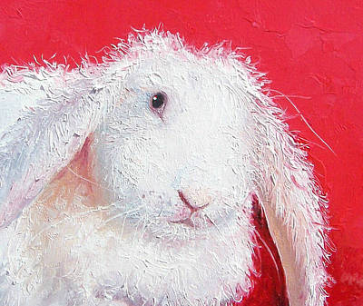 Rabbit Painting - White Rabbit Painting by Jan Matson