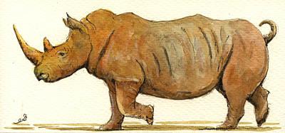 Rhinoceros Painting - White Rhino by Juan  Bosco