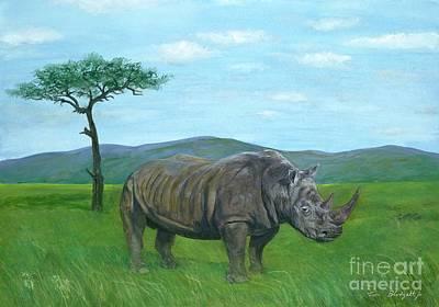 White Rhino Painting - White Rhinoceros by Tom Blodgett Jr