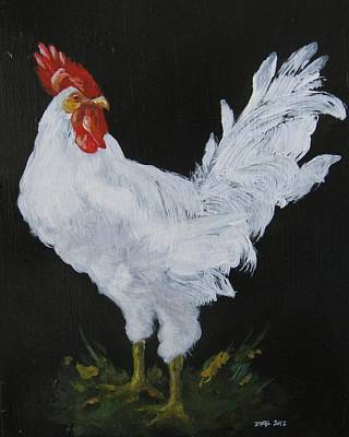 White Rooster II Print by Donna Ellery