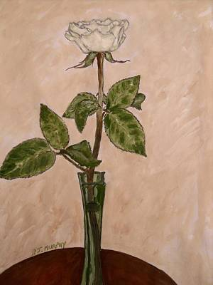 Gouache Painting - White Rose by Patrick J Murphy