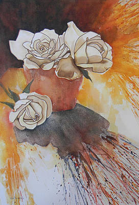 Painting - White Roses by Adel Nemeth