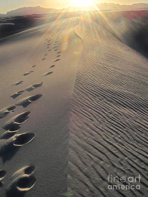 White Sands New Mexico Footsteps In The Sand Print by Gregory Dyer