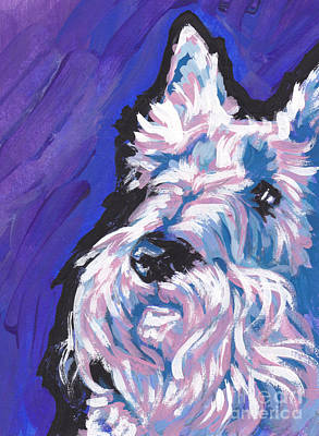 Scottish Dog Painting - White Scot by Lea S